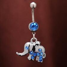 Newest Surgical Steel Ball Rhinestone Elephant Dangle Belly Navel Ring Piercing