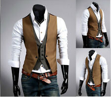 UK Style Camel mens slim fit double layered design casual waistcoat vest 4size