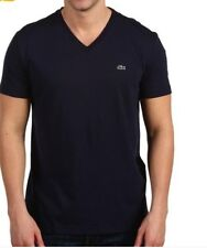 NEW! LACOSTE MEN'S V NECK T SHIRT PIMA COTTON MARINE COLOR