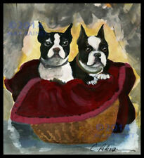 Best Friends ~ Pair of Boston Terrier Dogs in Basket FINE ART PRINT hand signed