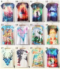 New Womens Short Sleeve Galaxy Geometry Graphic Printed T Sh irt Tee Blouse Tops