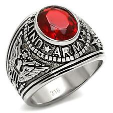 Men's Silver Stainless Steel Red CZ USA Army Military Veteran Ring Size 8 - 13