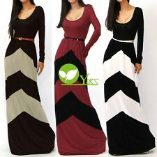 CHEVRON COLOR BLOCKED LONG SLEEVE EMPIRE WAISTED JERSEY MAXI DRESS dint