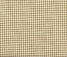 "2 French Country Gingham Check Linen Beige 30"" Curtain Panels Tiers Cotton"