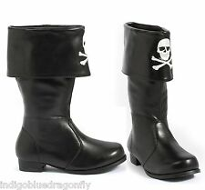 Awesome Boys or Girls Pirate Costume Boots Embroidered Skull 11-12-13-1-2-3-4-5