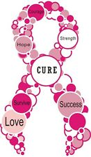 "Cure Breast Cancer Ribbon w/ Bubbles Decal 2""x7"" Cancer Sticker- FREE SHIPPING!"