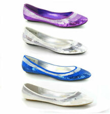 Ladies Spot On Sequin Flat Slip On Ballerina Dolly Shoes F8551
