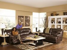 ASHLEY CONTEMPORARY TOP GRAIN LEATHER RECLINING COUCH SOFA AND LOVESEAT SET
