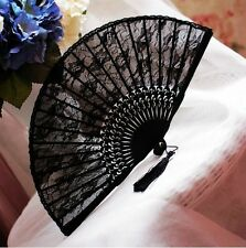Japanese Manual Hand Lace Dance Flower Tassels Bamboo Pocket Folding Fan Usps