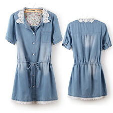 Sexy lace Collar short Sleeve Denim Long Top Blouse belted slim Shirt Dress