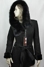 NEW 100% GENUINE BLACK SUEDE SHEARLING LEATHER TOSCANA FUR HOOD COAT JACKET S-7X