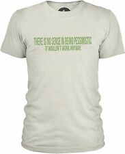 There Is No Sense in Being Pessimistic (Green) Mens Mixed Cotton T-Shirt