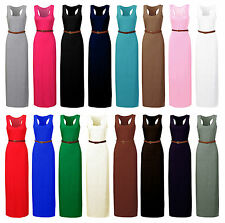 New Ladies LONG JERSEY RACER BELTED MAXI DRESS WOMENS DRESS