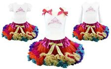 Frozen Anna Birthday Girl Crown Pettiskirt Rainbow Outfit Pageant Party NWT 1-10