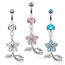 316L Surgical Steel Petite Flower CZ Double Gem  Petals Navel Belly Ring Clear