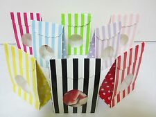 24x Striped Lolly Candy BAGS Box Party Favours Loot Lolly Party Bag with Window