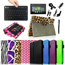 """Folio Leather Case Stand Cover for 2012 Kindle Fire HD 8.9"""" + Bluetooth Keyboard"""