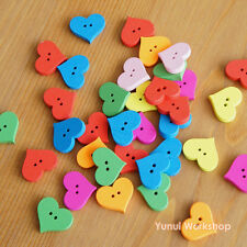 36pcs: Multi-Color Heart Shaped Wood Buttons Patchwork Craft 2 holes