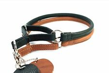 Rolled Round SOFT Leather Dog Martingale Collar Padded Size XSmall to XLarge