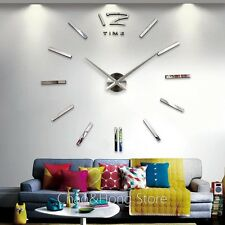 Large DIY Wall Clock Home Decor 3D EVA Mirrors Acrylic Stickers Cool Big Timer