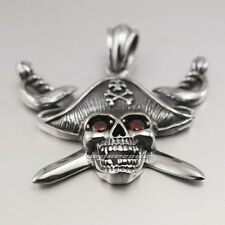 316L Stainless Steel Ruby Eyes Pirate Skull Mens Biker Pendant 4T027A