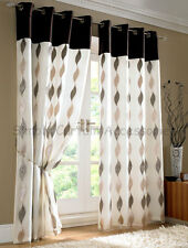Wave Voile Lined Curtains Eyelet Heading Chocolate Top