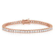 Cubic Zirconia Tennis Bracelet Rose Gold Plated  3x3mm Square White CZ