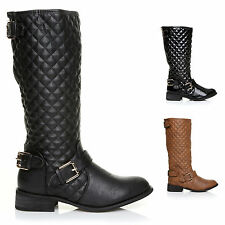 NEW WOMENS QUILTED LADIES RIDING FLAT HIGH LONG BOOTS KNEE HI SHOE SIZE'S 3 - 8