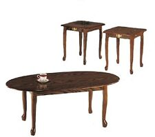 Queen Anne 3-pcs coffee and End Table Set