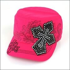 Womans Rhinestone Bling Cross Hat Cap Cadet Pick Color