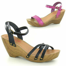 Womens Ladies New Mid Wedge Heel Open Toe Summer Beach Sandals Clogs Shoes Size