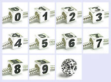 STR Silver Number Digit Dice Cube Zero to Nine Bead for European Charm Bracelet