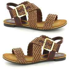 Womens Ladies Flat Heel Strappy Woven Buckle Summer Gladiator Sandals Shoes Size