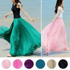 Fashion Summer Womens Lady Girl Elastic Waist Band Dress Chiffon Long Maxi Skirt