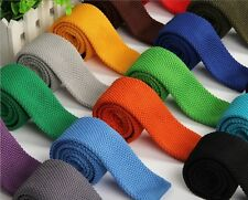 Fashion Candy Color Men's Skinny Tie Knit Knitted Tie Necktie Narrow Slim Woven