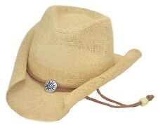 Western Women's Curled Straw Hat with Chin String Cowboy Cowgirl Tan - ALL SIZES