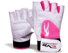 EVO Fitnes Leather Ladies Pink Gym Gloves Weightlifting strap Cycling Wheelchair