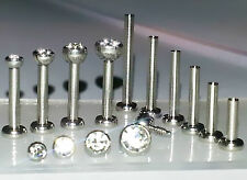 18g 1.5, 2, 2.5,3mm CLEAR CZ Gem Threaded Nose Nostril Stud Bone Screw Jewelry