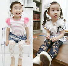 Trendy New Kids Toddlers Girls Clothes Lace Leggings Pants Trousers Ages2-7Yrs