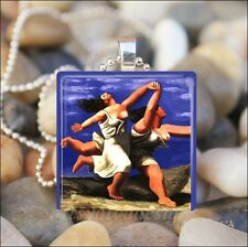 TWO WOMEN RUNNING ON THE BEACH Pablo Picasso PAINTING ART GLASS PENDANT NECKLACE