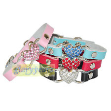 Dog Cat Puppy Genuine Leather Collars Bling Crystal Buckle Rhinestones Heart