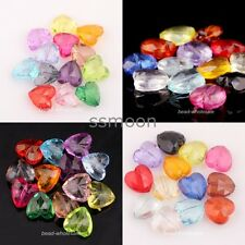 NEW 50pcs Mixed Acrylic Faceted Charm Heart Spacer Beads