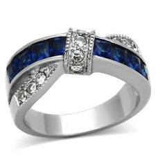 Women's Princess Cut Blue & Clear Stone Stainless Steel Fashion Ring Size 5-10
