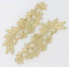 1Pair Embroidery Crafts Gold Lace Flower Shaped  Trim Sewing Applique 3 Choice