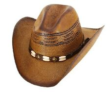 Western Brockway Brown Straw Cowboy Hat Bone Rodeo Beach Adult & Kids S,M,L,XL