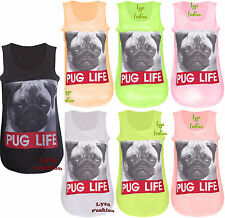 L162 Womens New Dog Pug Life Slogan Print Ladies Sleeveless T-Shirt Vest Top UN