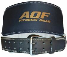 "AQF Weight Lifting 6"" Leather Belt Back Support Strap Gym Power Training Fitness"