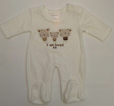 NEW!! BABY BOY  VELOUR  SLEEP/PLAY  SUIT  WEAR  CLOTHES NB 0-3  MONTHS BNWT