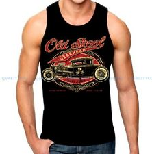 Men's OLD SKOOL Black Tank Top auto shop classic rat hot rod Ford Chevy vintage