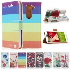 Pattern Printed Flip Leather Stand Case Wallet Cover For LG G2 Mini D620 D618